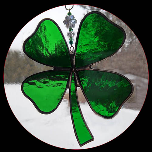 stained glass Four Leaf Clover Suncatcher